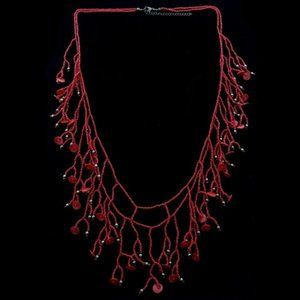 Lane Bryant long red beaded statement necklace